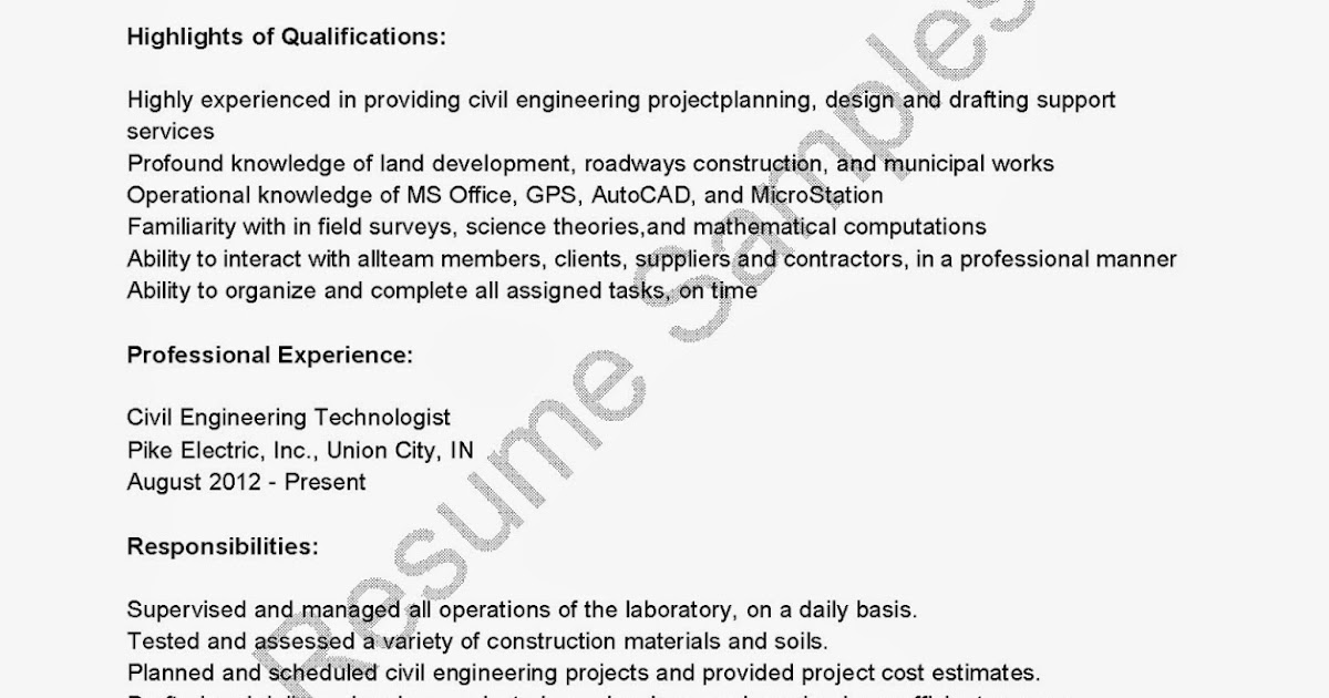 resume samples  civil engineering technologist resume sample