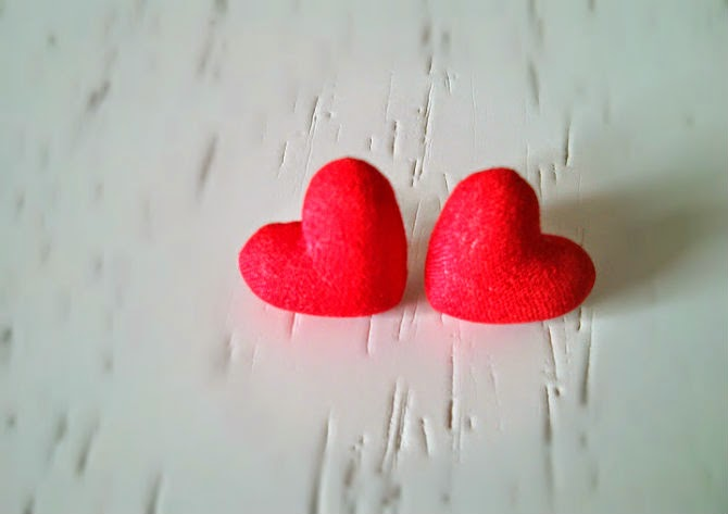 hand made red heart stud earrings