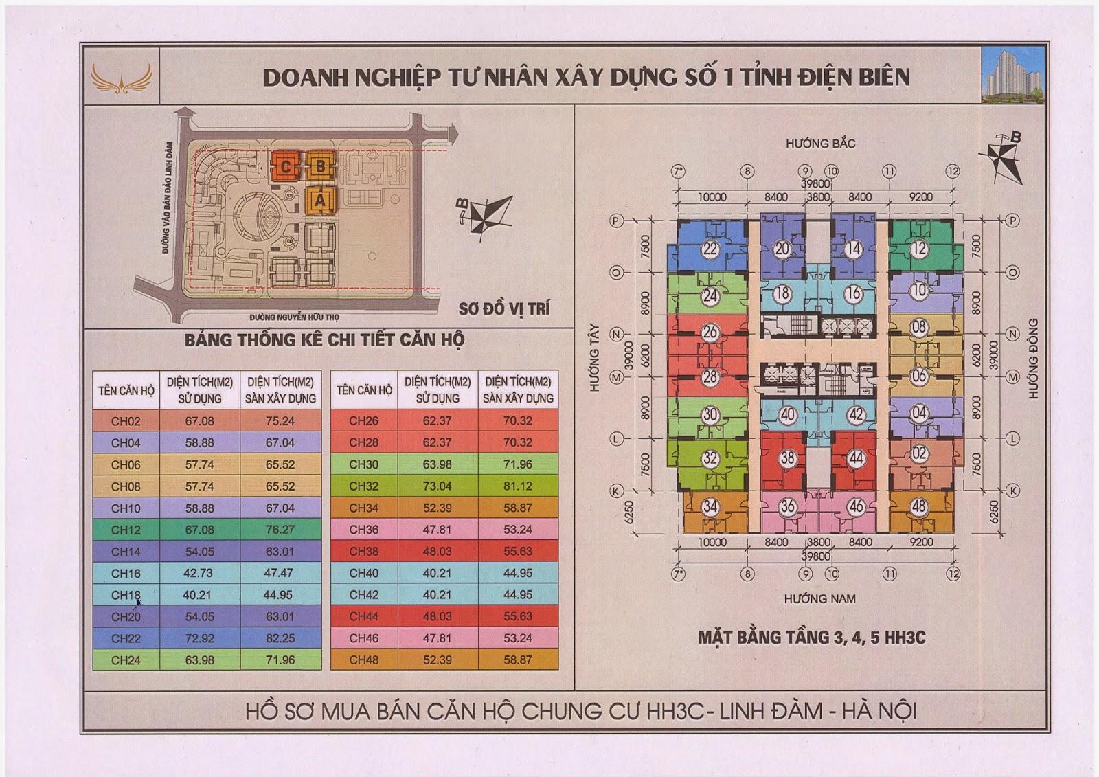 Mặt bằng tầng 3-4-5 chung cư hh3c linh đàm
