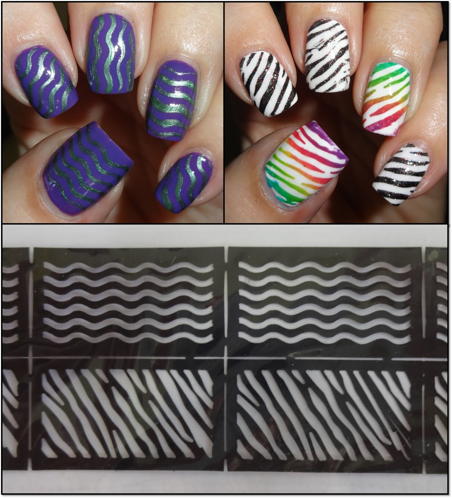 wendy 39 s delights born pretty store nail vinyl stencils wavy lines animal print. Black Bedroom Furniture Sets. Home Design Ideas