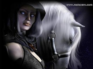 garota e cavalo branco