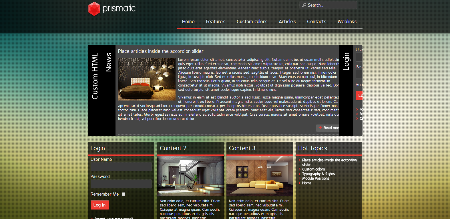 Prismatic Free Responsive Joomla Template