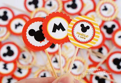 toppers festa mickey personalizada