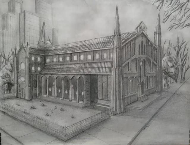 Richardmca proyecto final dibujo ii espacio interior y exterior con uno y dos puntos de fuga - Casas dibujadas a lapiz ...