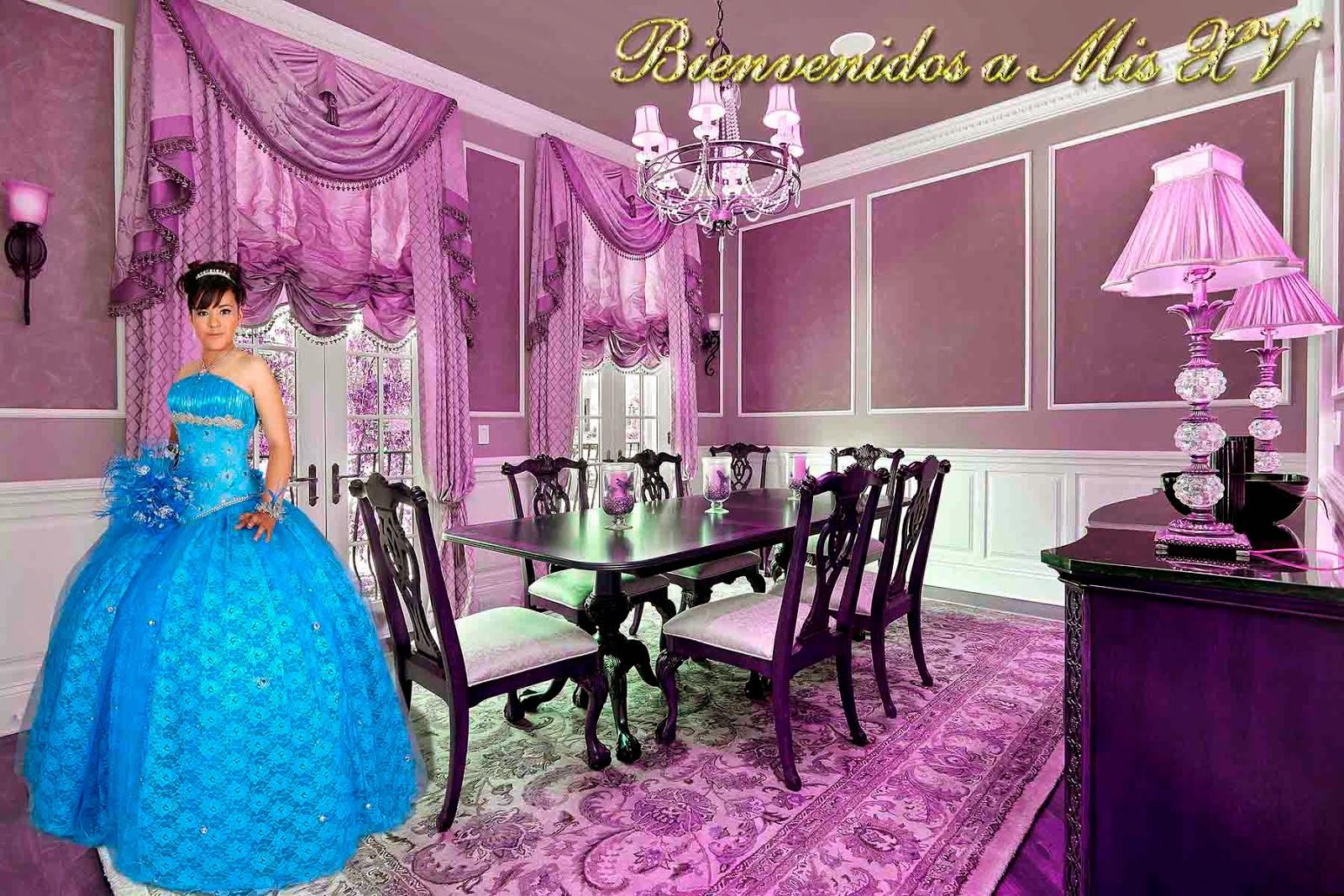 Sala comedor en color violeta para foto de XV Años