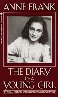Book cover with brown background and black and white image of Anne Frank. Cover says Diary of a Young Girl, by Anne Frank