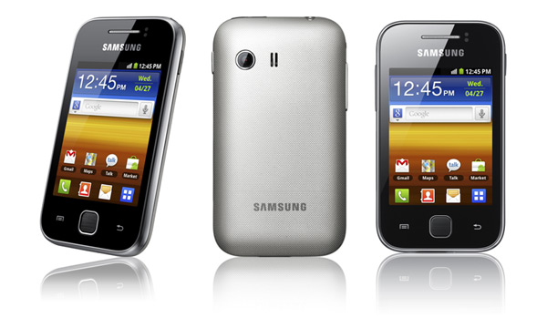 The Samsung Galaxy Y's appearance is like a cross between a Samsung