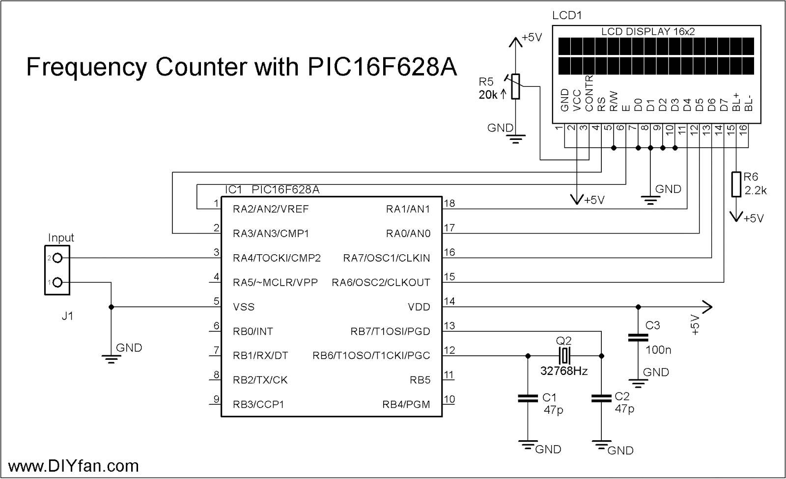 Frequency Counter Preamplifier Circuit : Diyfan mhz frequency counter with lcd display