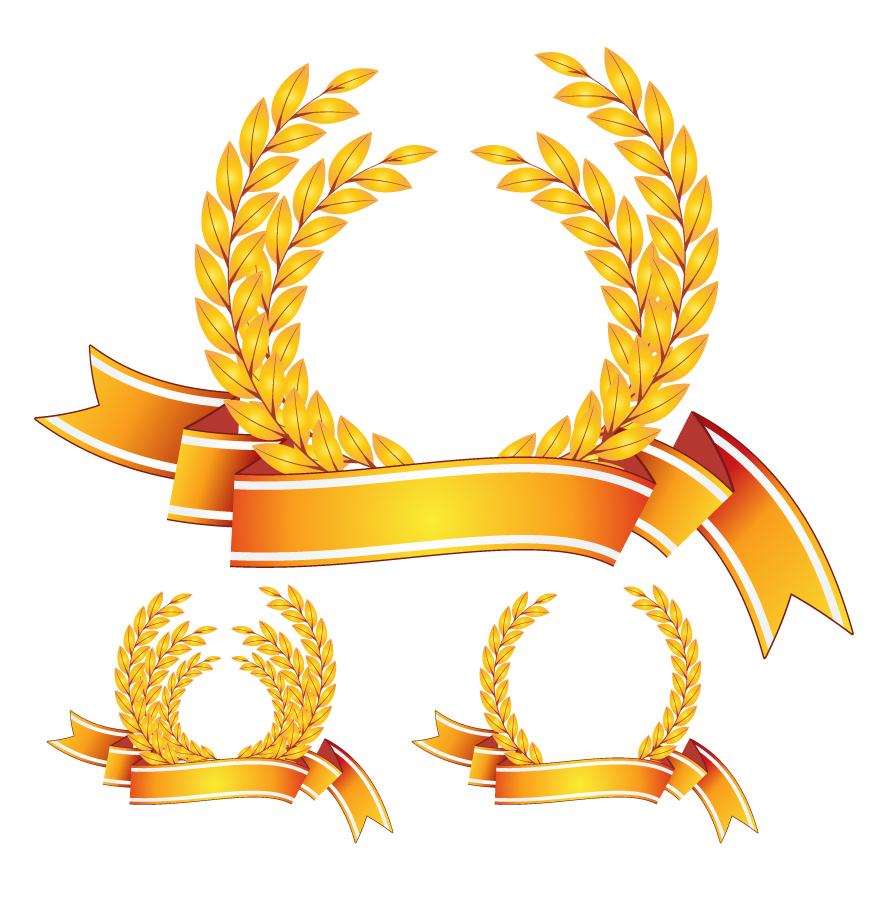 美しい黄金の月桂冠 golden laurel vector イラスト素材2