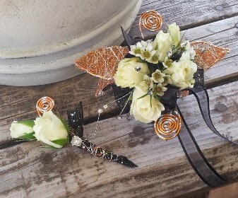 Custom copper wire leaf cuff design and matching boutonniere
