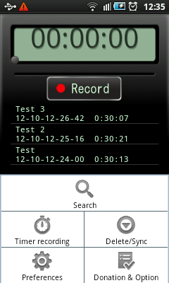 Android Recorder - Menu