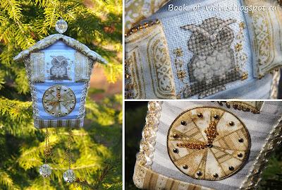 Handmade owl Christmas clock