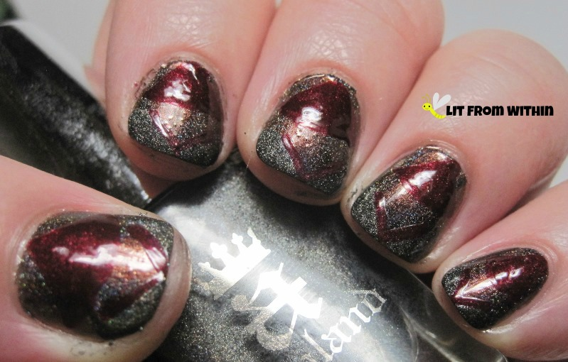 I used a red nail art striper and then created a chevron French tip using A-England Fated Prince