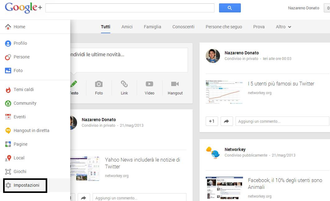 impostazioni immagini google+