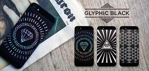 Phone Pop Glyphic Black Vinyl Backs set for iPhone 5