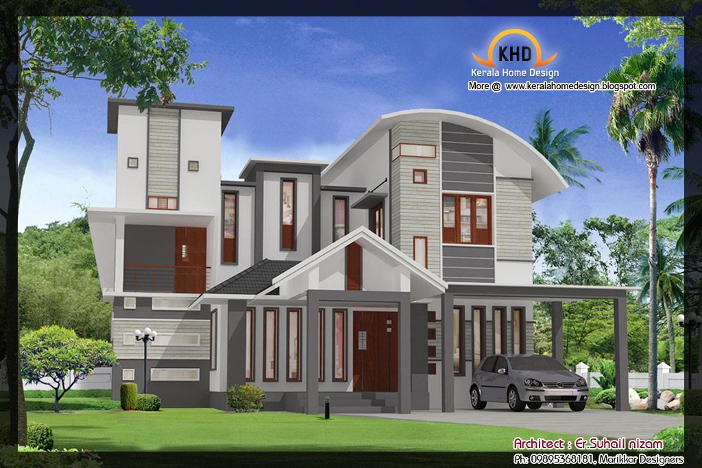 Home plan and elevation 2023 sq ft home appliance for Latest house elevation
