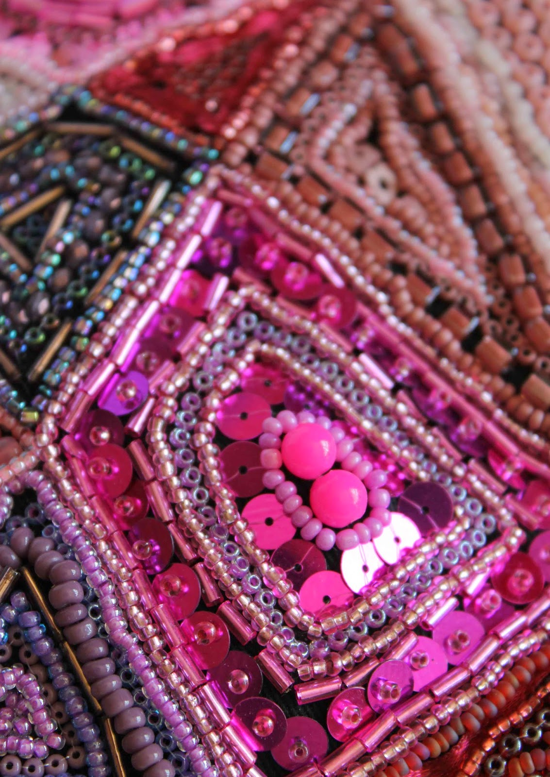 Close up of hand stitched purse embellished with beads and sequins