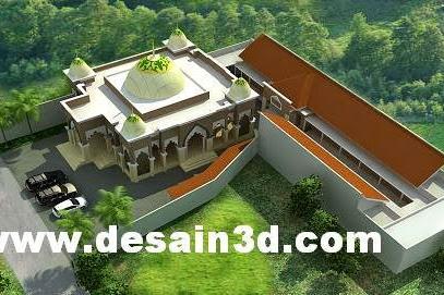 Desain siteplan masjid kubah dan pesantren