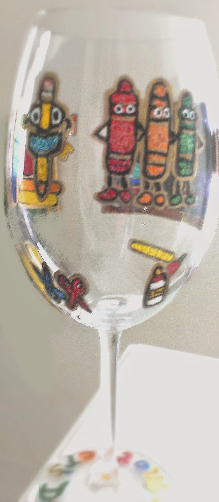 hand painted teacher wine glasses
