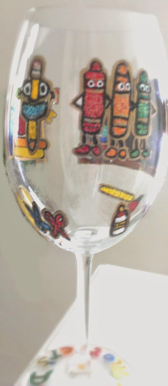 hand painted teacher wine glasses