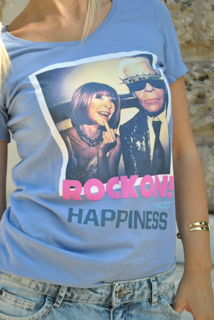 maglia happiness tricot maglia anna wintour karl lagerfield shirt azzurra shirt ironiche t-shirt con scritte mariafelicia magno fashion blogger outfit estivi colorblock by felym fashion blog italiani fashion blogger italiane
