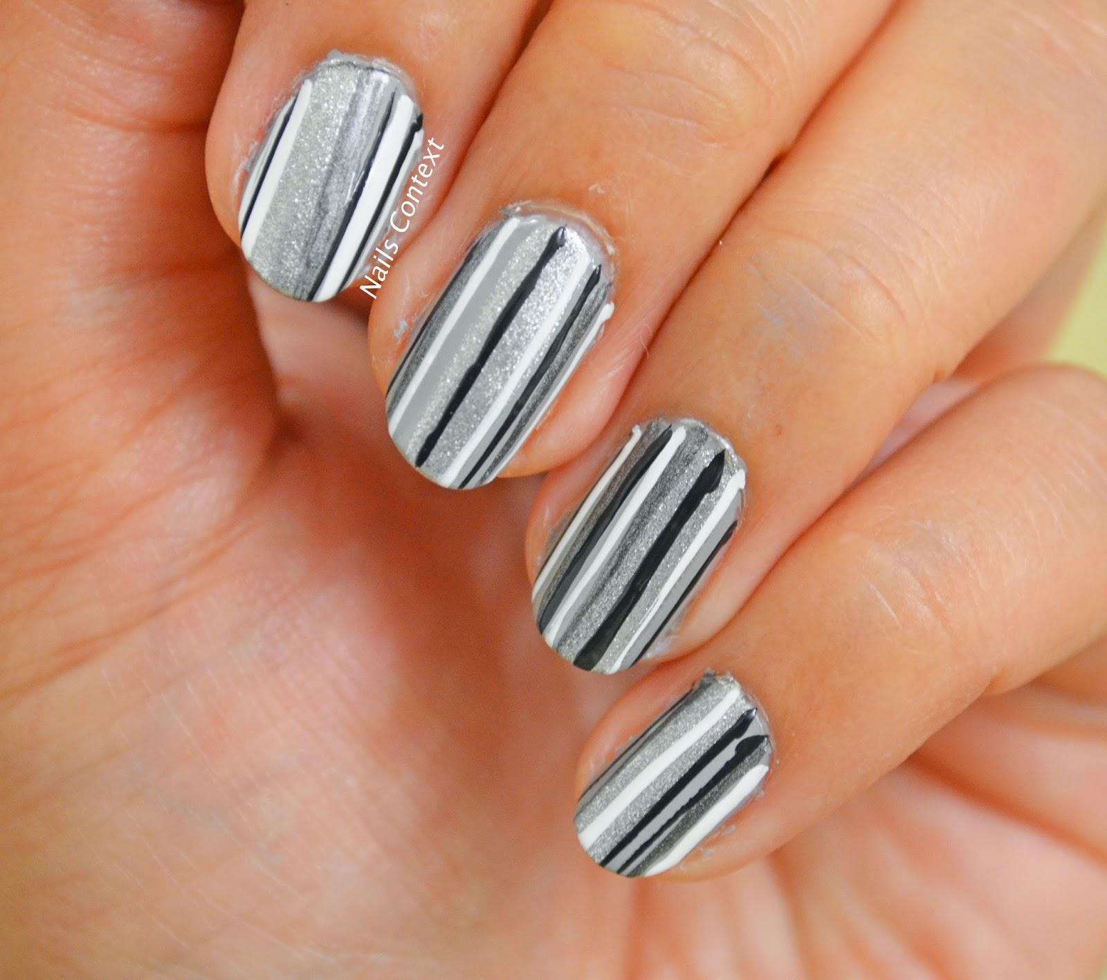 Funky Black Stripes On Nails Festooning - Nail Art Ideas - morihati.com