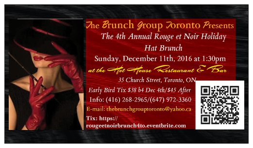 Join the Brunch Group Toronto for the 4th Annual Rouge et Noir Holiday Hat Brunch, Sun Dec 11!