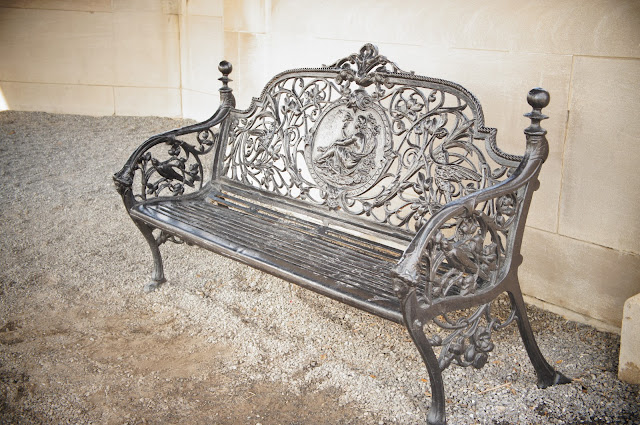 picture of stylish metal park bench