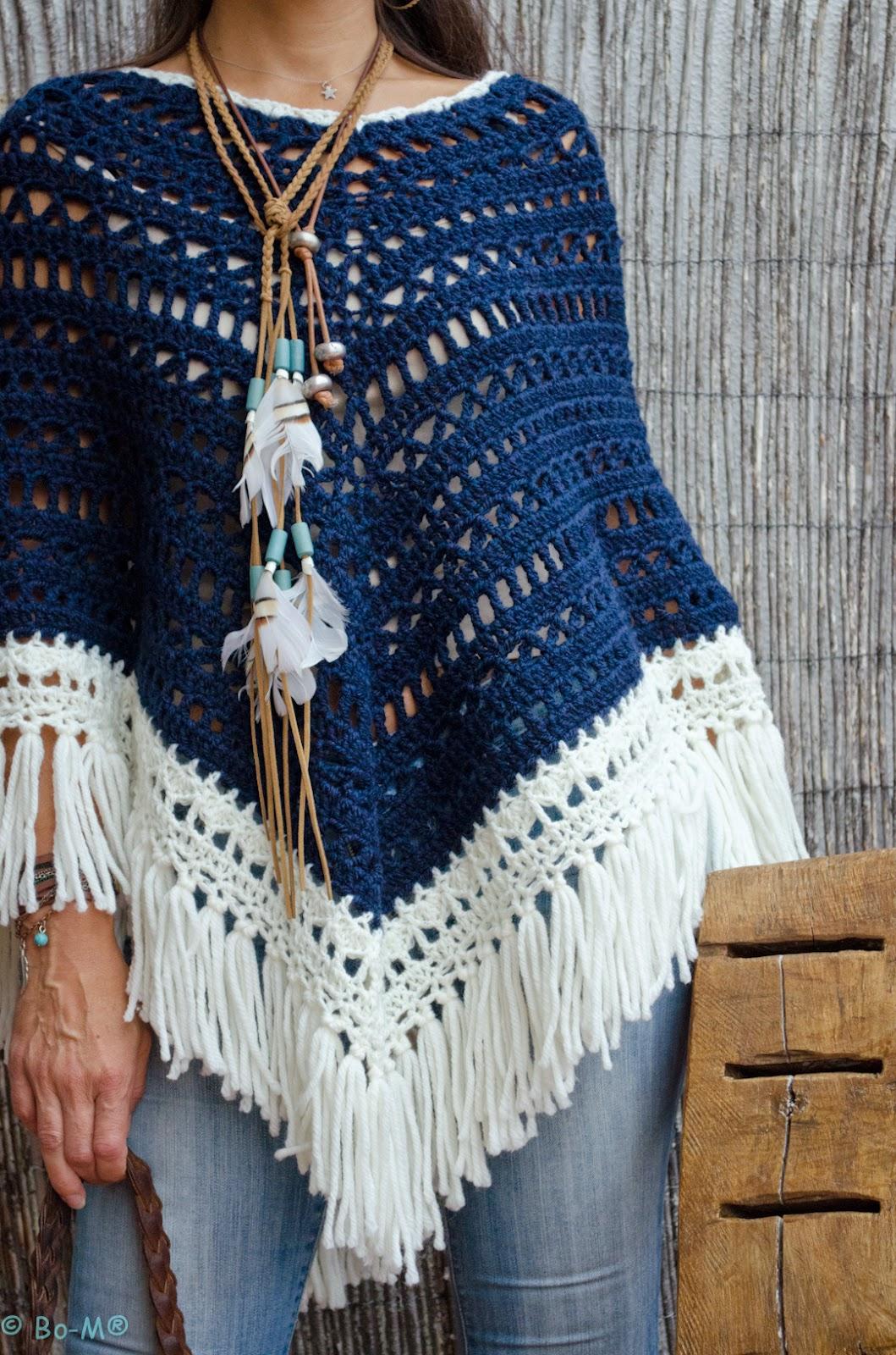 Bohemian Poncho Free Crochet Pattern : Bo-M: Camisolao Aponchado blusas Pinterest Crochet ...