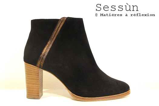 Low boots Sessùn talon daim noir