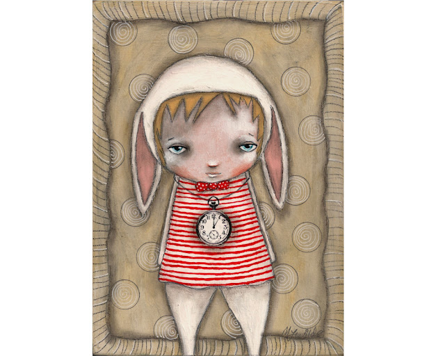Alice in wonderland white rabbit original painting by Micki Wilde
