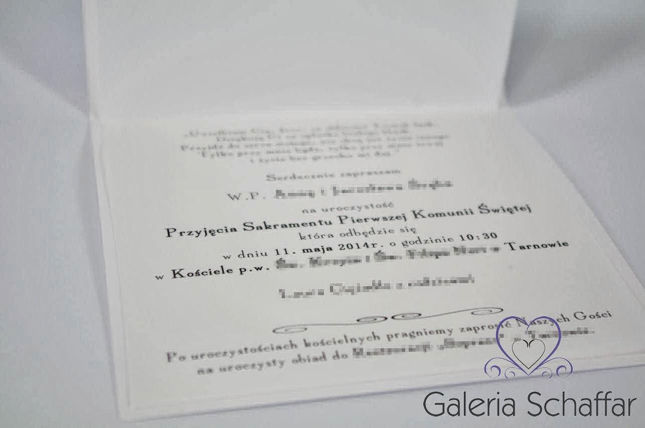 piękne białe zaproszenia na komunię hand made galeria schaffar