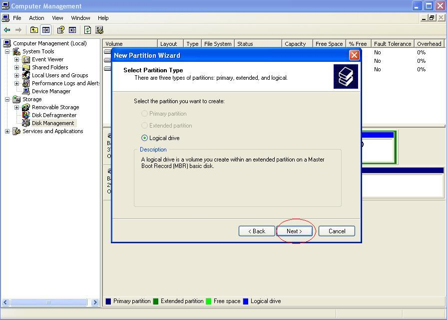 how to create a backup partition on external hard drive