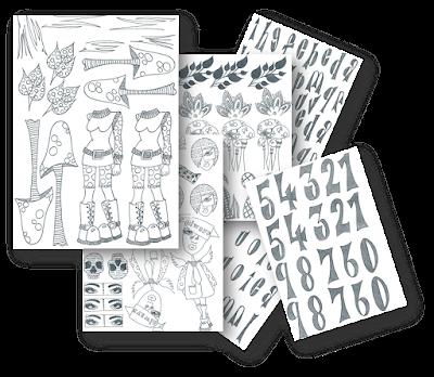 estampaciones varias con los sellos de Dyan Reaveley