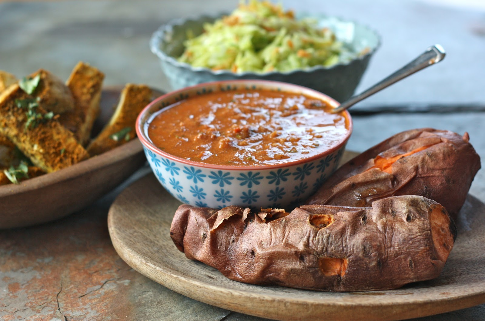 natural food blog: Baked Sweet Potato in a West African Peanut Sauce