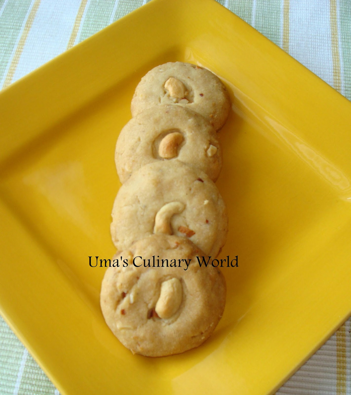 Uma's Culinary World: Eggless Cashew Butter Cookies