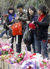 Students selling flowers for Valentine