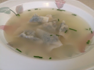 chard dumplings in chive broth