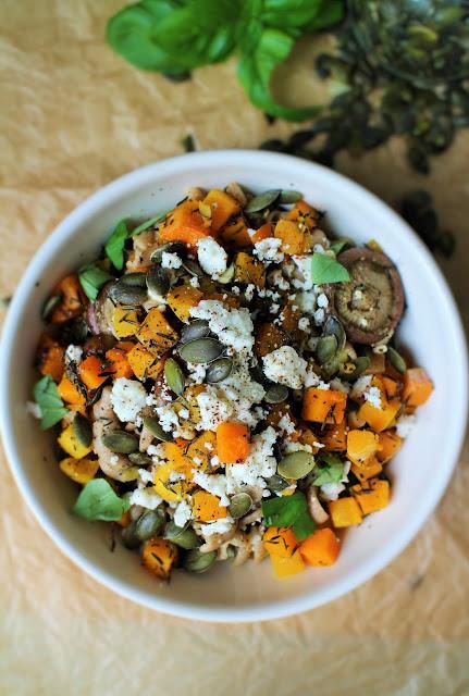 herfstpasta met pompoen, gezonde pesto en boschampignons