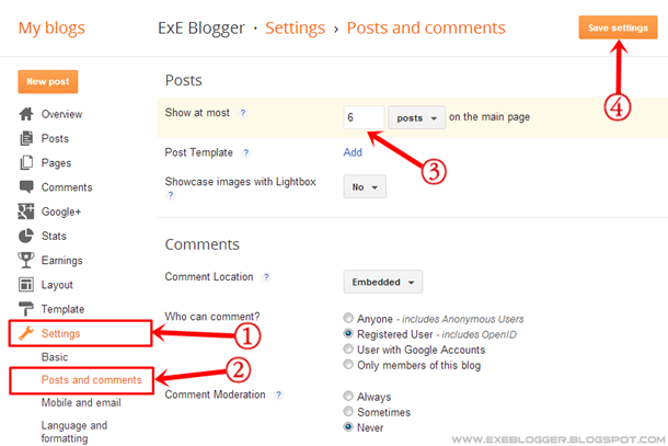 How to Change the Number of Posts Displayed on Blogger Main Page