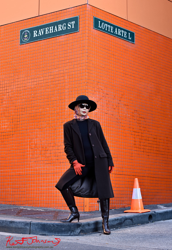 Ralph Lauren Boots, Orange scarf, winter coat and black Akubra hat, street fashion Sydney with vivalaViv. Photo - Art Direction by Kent Johnson.