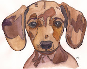 Dachshund Puppy. I found this photo on Pinterest and decided to paint this .
