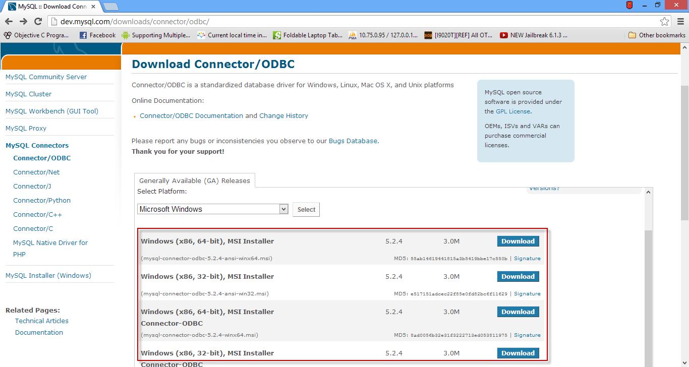 download free mysql connector odbc 64-bit windows 7