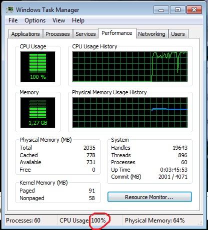 pada saat saya lihat di task manager cpu usage menunjukkan angka 100
