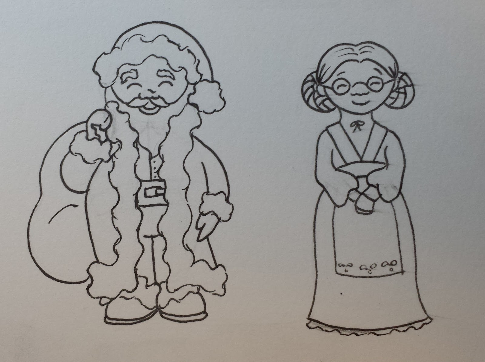 Line Drawing Santa Face : Paper doll school december santa claus and mrs