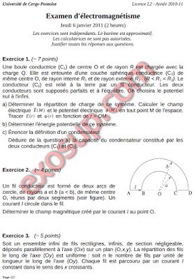 Examen d'électromagnétisme ucp