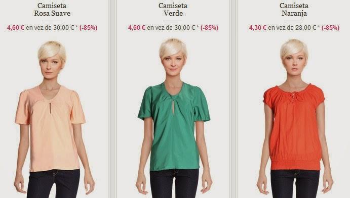 Tres ejemplos de camisetas de colores disponibles dentro