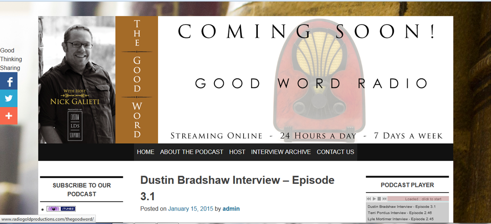 Dustin Bradshaw Interview for COUNTING CANDLES with THE GOOD WORD