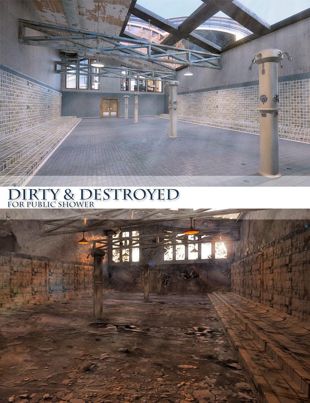 Dirty et destroyed douche publique