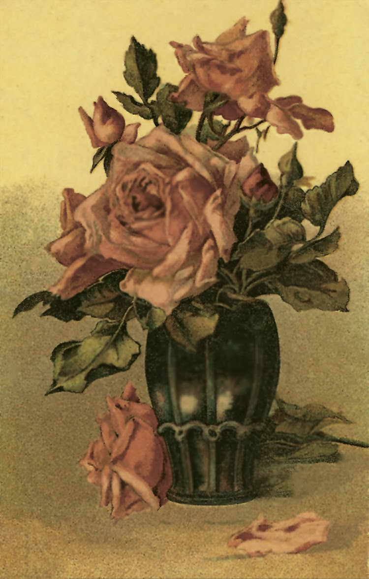 roses in vase vintage color